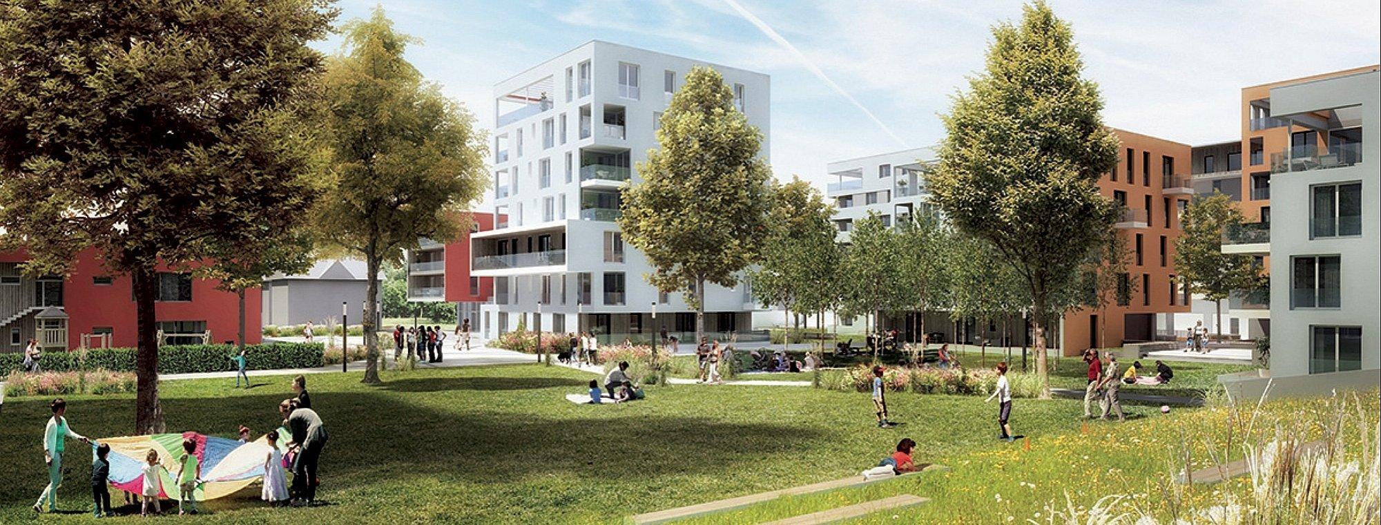 Quartier Riedenburg / Ansicht Park © ARGE Schwarzenbacher Struber / Fally plus Partner